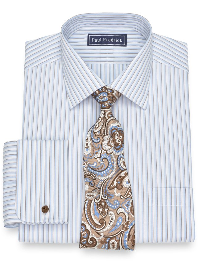 Slim Fit Cotton Framed Stripe Dress Shirt