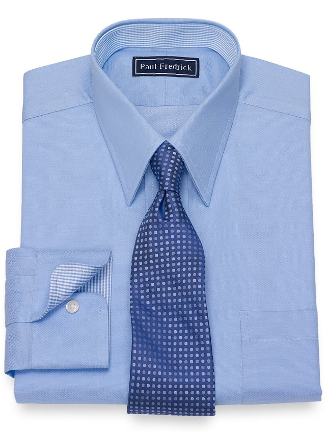 Cotton Mini Herringbone Dress Shirt