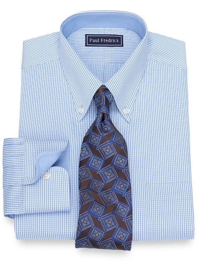Cotton Mini Gingham Dress Shirt