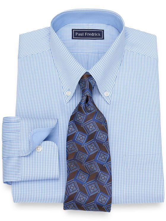 Slim Fit Cotton Mini Gingham Dress Shirt