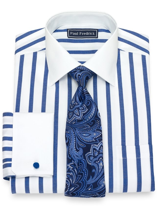 Slim Fit Cotton Wide Stripe Dress Shirt