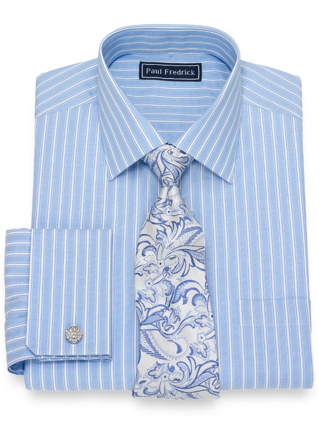 Slim Fit Cotton Twin Stripe Dress Shirt