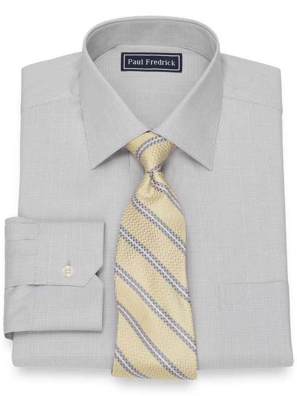 Slim Fit Cotton Glen Plaid Dress Shirt