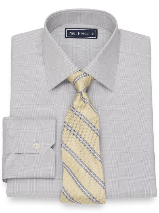 Slim Fit Cotton Glen Plaid Dress Shirt