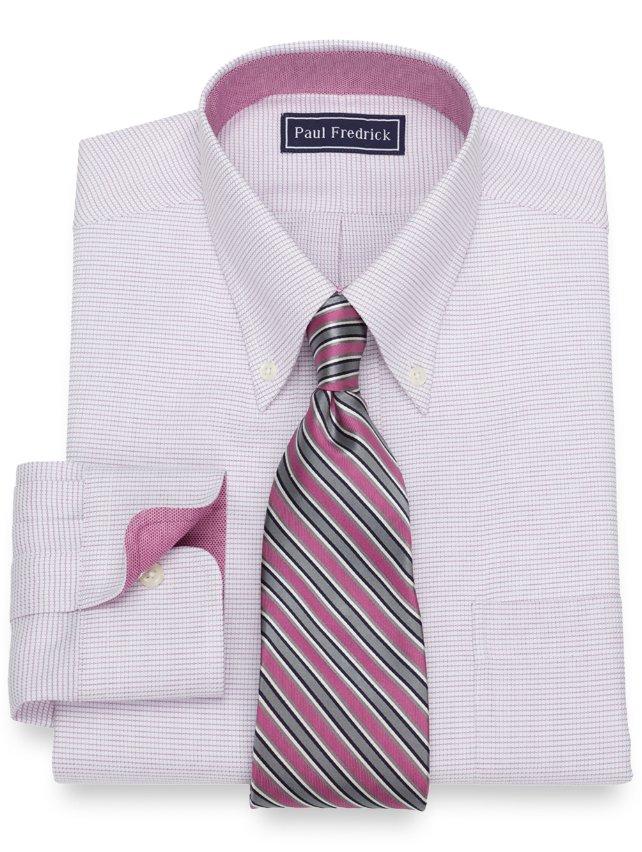 Cotton Twill Mini Check Dress Shirt