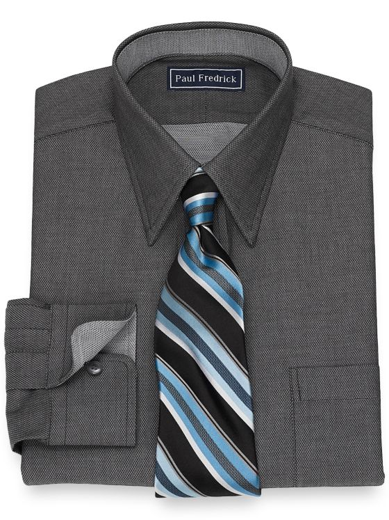 Cotton Textured Solid Dress Shirt