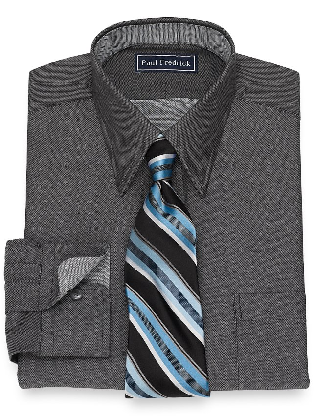 Slim Fit Cotton Textured Solid Dress Shirt