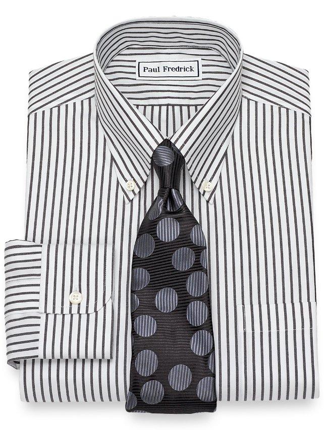 Slim Fit Non-Iron Cotton Stripe Dress Shirt