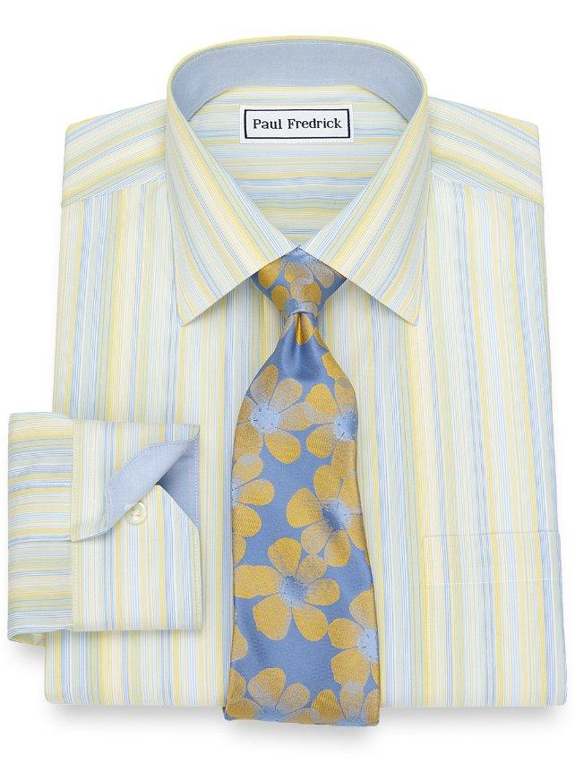 Slim Fit Non-Iron Cotton Variegated Stripe Dress Shirt