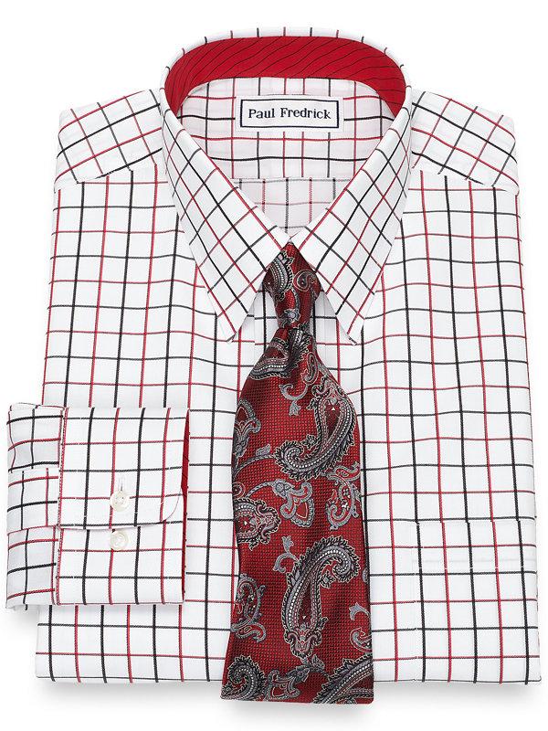 Slim Fit Non-Iron Cotton Satin Grid Dress Shirt with Contrast Trim