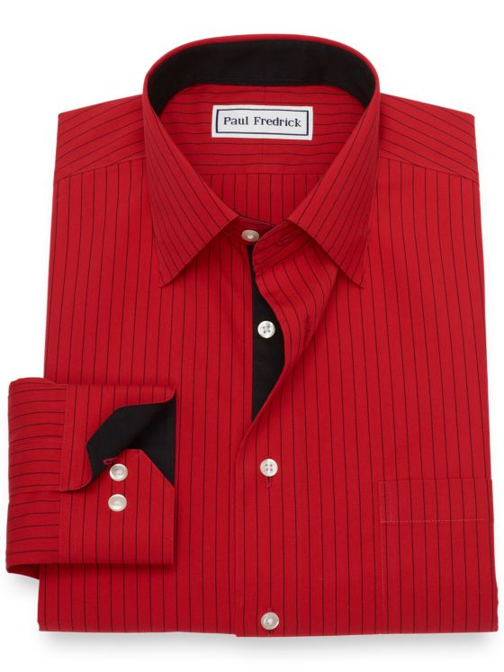 Non-Iron Cotton Broadcloth Fine Line Stripe Dress Shirt with Contrast Trim
