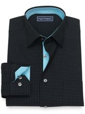 Slim Fit Dot Pattern Pure Cotton Broadcloth Dress Shirt with Contrast Trim