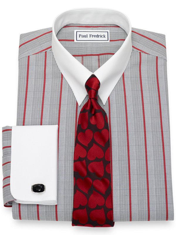 Slim Fit Non-Iron Cotton Glen Plaid with Satin Stripe Dress Shirt