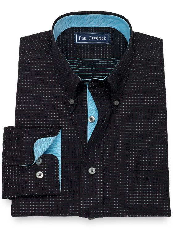Slim Fit Pure Cotton BroadclothDot Pattern Dress Shirt with Contrast Trim