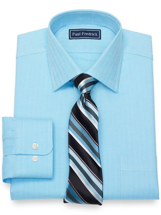 Slim Fit Pure Cotton Broadcloth Herringbone Dress Shirt