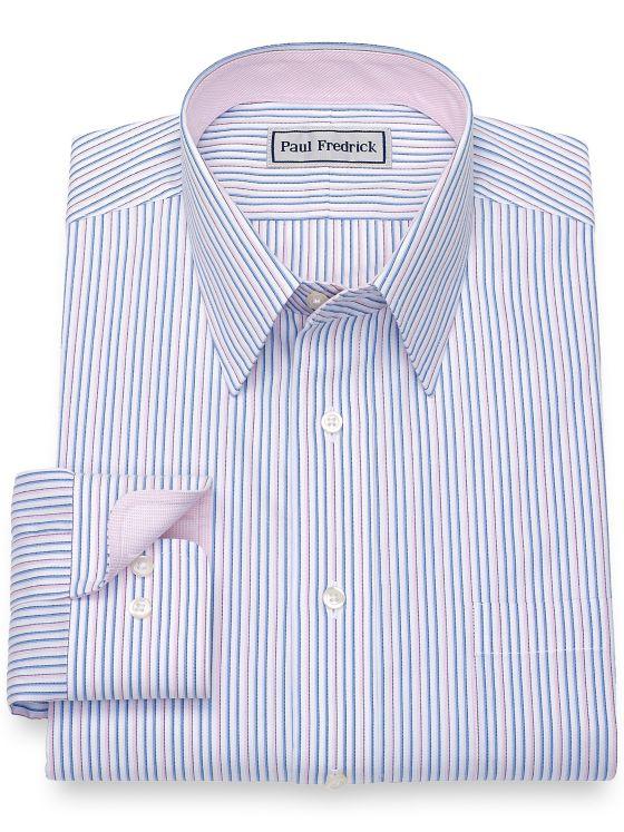 Slim Fit Impeccbale Non-Iron Cotton Stripe Dress Shirt with Contrast Trim