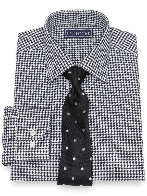 Pure Cotton Broadcloth Houndstooth Dress Shirt