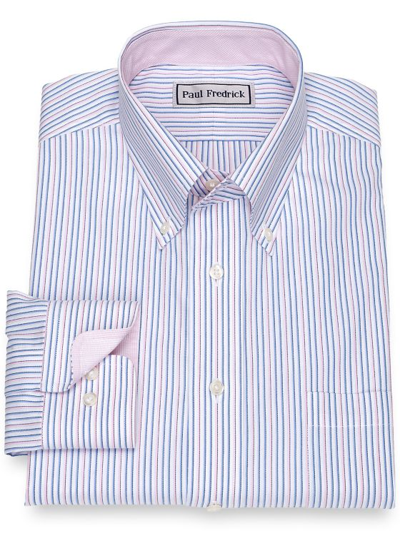Impeccable Non-Iron Cotton Pinpoint Stripe Dress Shirt with Contrast Trim