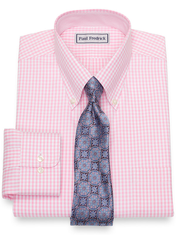 Impeccable Non-Iron Cotton Pinpoint Gingham Dress Shirt with Contrast Trim