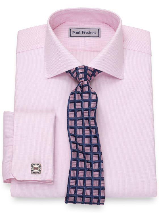 Slim Fit Impeccable Non-Iron Cotton Textured Pattern Dress Shirt