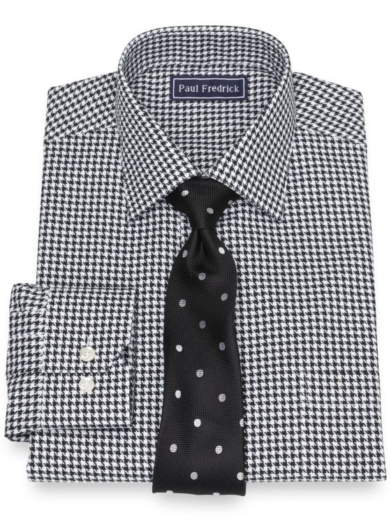 Slim Fit Pure Cotton Broadcloth Houndstooth Dress Shirt