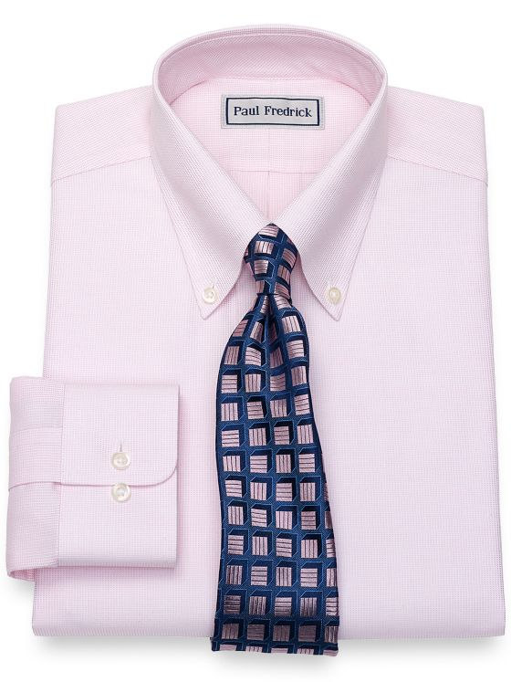 Slim Fit Impeccable Non-Iron Cotton Textured Pattern Dress Shirt