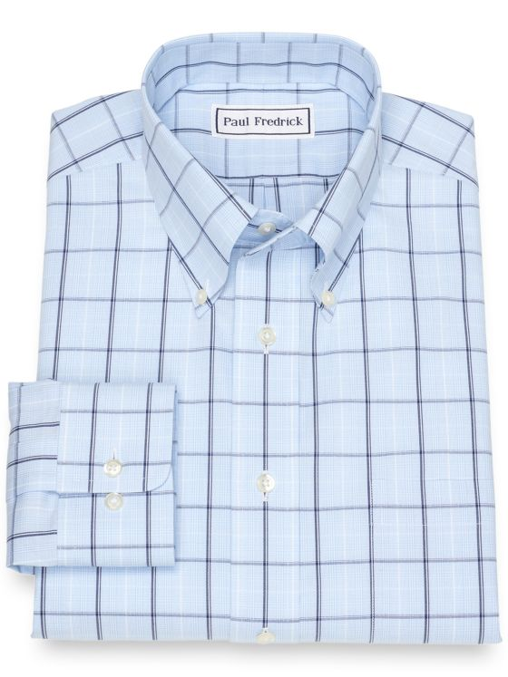 Non-Iron Cotton Pinpoint Glen Plaid Dress Shirt