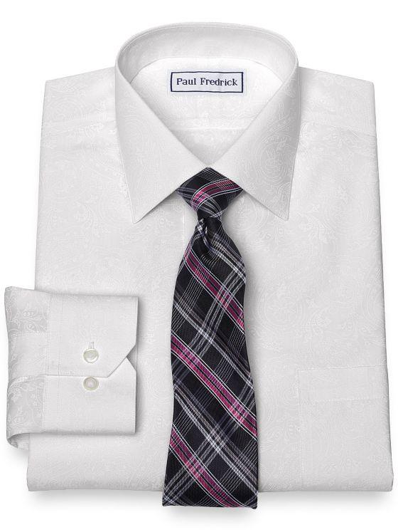 Slim Fit Non-Iron Cotton Paisley Dress Shirt