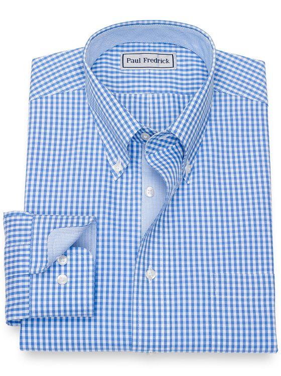 Slim Fit Impeccable Non-Iron Cotton Gingham Dress Shirt with Contrast Trim