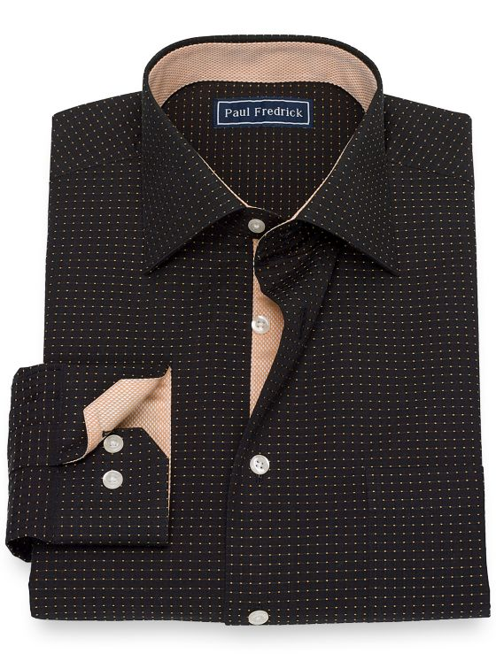 Slim Fit Pure Cotton Broadcloth Dot Pattern Dress Shirt with Contrast Trim