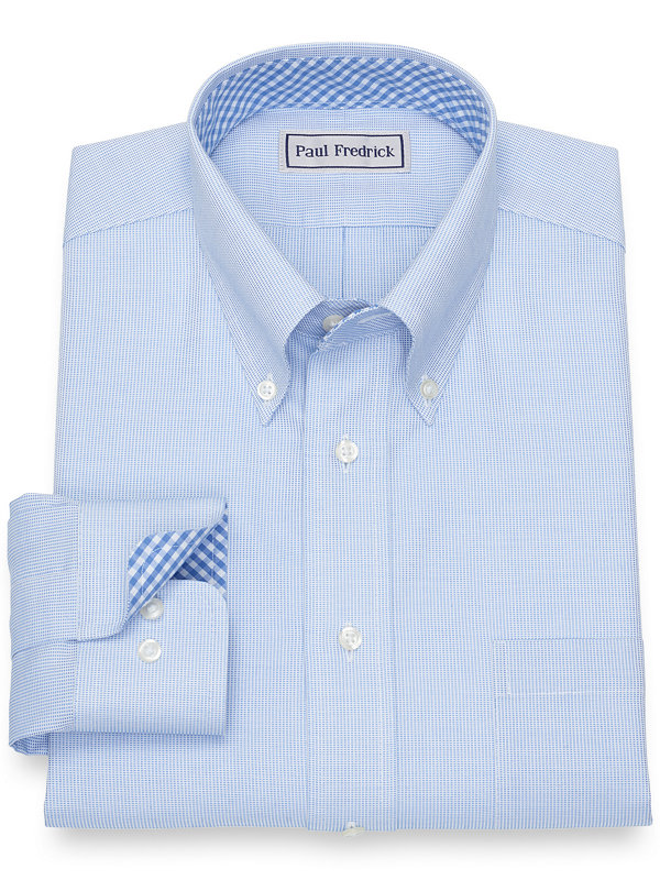 Impeccable Non-Iron Cotton Broadcloth Dress Shirt with Contrast Trim