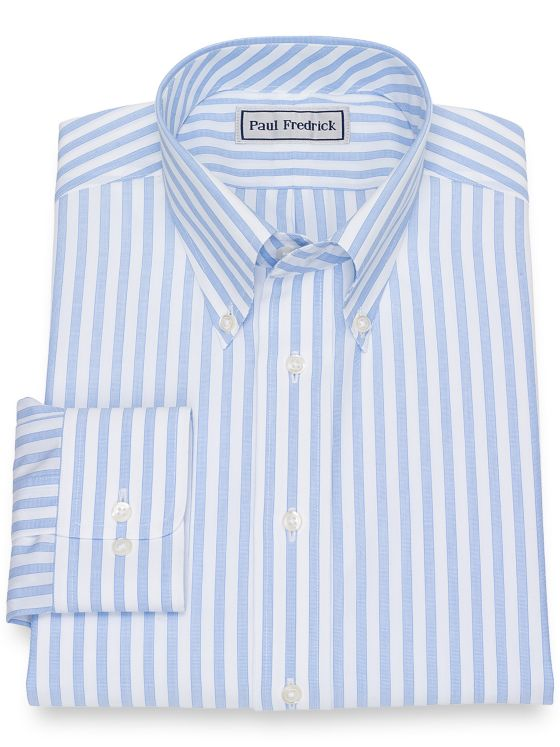 Impeccable Non-Iron Cotton Broadcloth Stripe Dress Shirt