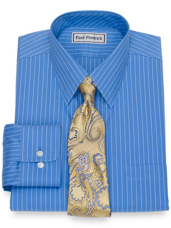 Slim Fit Impeccable Non-Iron Cotton Pinpoint Fine Line Stripe Dress Shirt