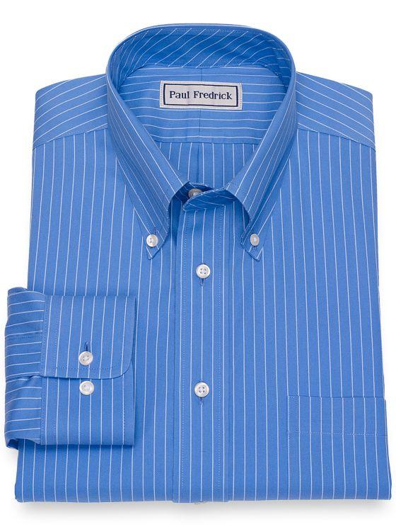 Impeccable Non-Iron Cotton Pinpoint Fine Line Stripe Dress Shirt