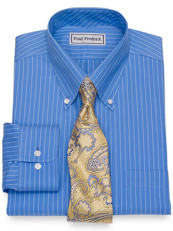 Slim Fit Impeccable Non-Iron Cotton Pinpoint Fine Line Stripe Dress Shirt