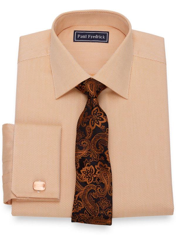 Slim Fit Pure Cotton Broadcloth Diamond Pattern Dress Shirt