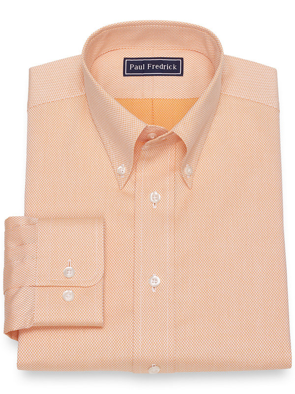 Pure Cotton Broadcloth Diamond Pattern Dress Shirt