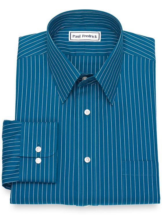 Non-Iron Cotton Pinpoint Fine Line Stripe Dress Shirt