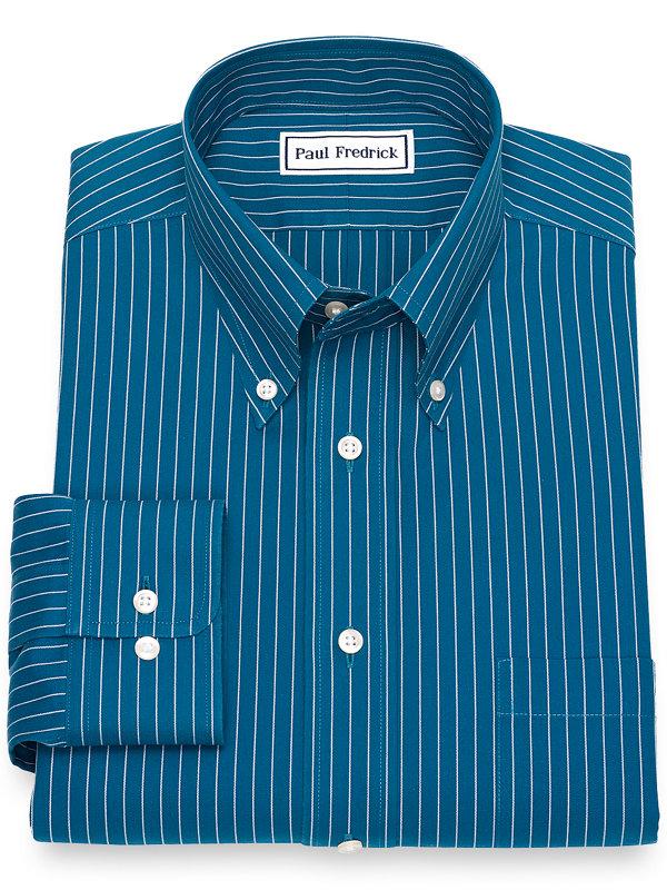 Slim Fit Non-Iron Cotton Pinpoint Fine Line Stripe Dress Shirt