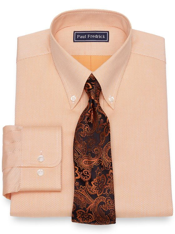 Slim Fit Pure Cotton Broadcloth Diamond Pattern Dress Shirt