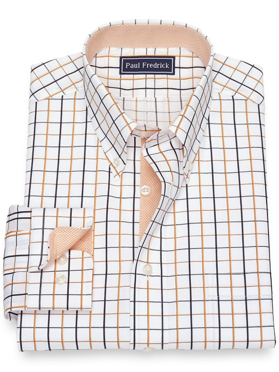 Pure Cotton Broadcloth Satin Grid Dress Shirt with Contrast Trim