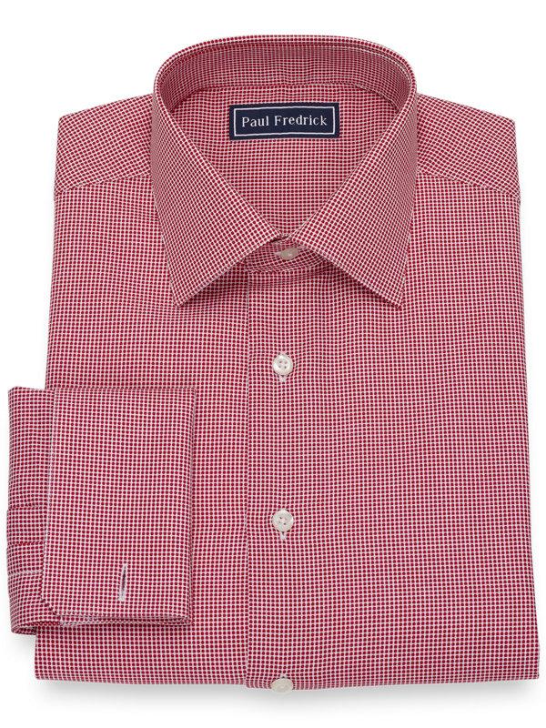 Slim Fit Pure Cotton Broadcloth Dot Pattern Dress Shirt