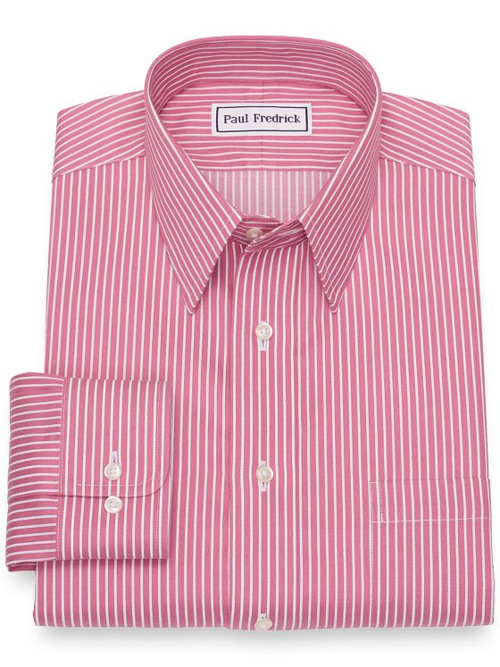 Slim Fit Non-Iron Cotton Satin Stripe Dress Shirt