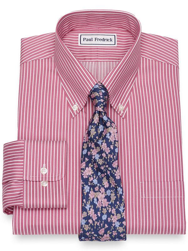 Non-Iron Cotton Satin Stripe Dress Shirt