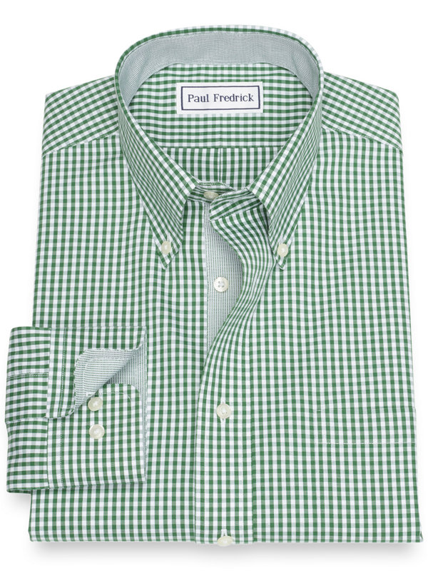 Slim Fit Non-Iron Cotton Pinpoint Gingham Dress Shirt with Contrast Trim