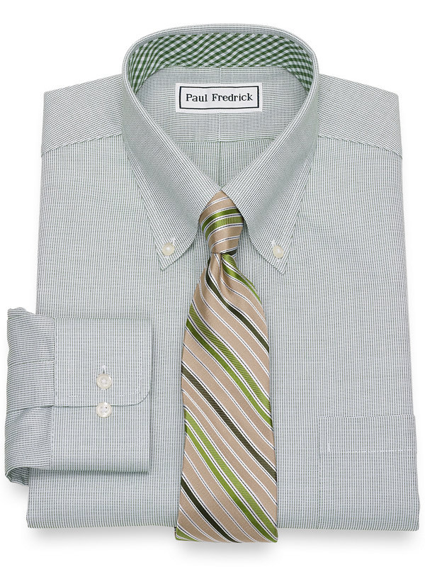 Slim Fit Non-Iron Cotton Textured Pattern Dress Shirt with Contrast Trim