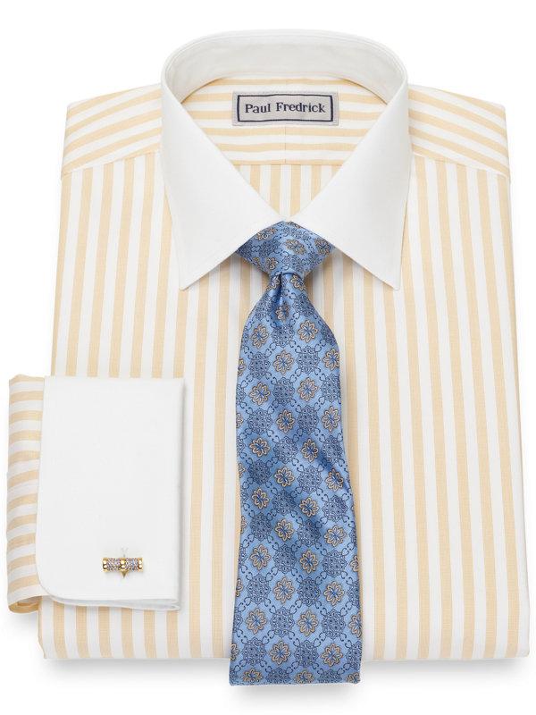 Impeccable Non-Iron Cotton Pinpoint Bengal Stripe Dress Shirt
