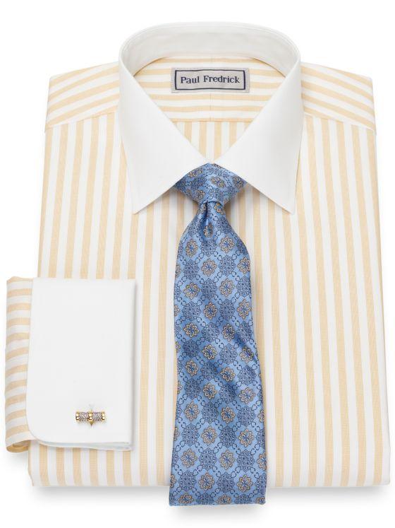 Slim Fit Impeccable Non-Iron Cotton Pinpoint Bengal Stripe Dress Shirt