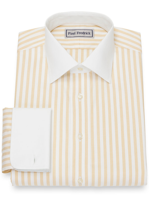 Slim Fit Impeccable Non-Iron Cotton Pinpoint Bengal Stripe Dress Shirt