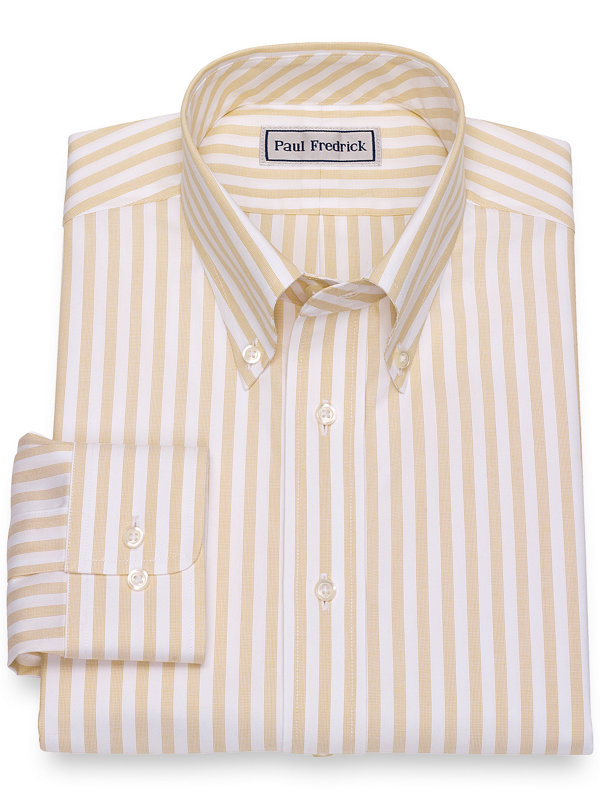 Impeccable Non-Iron Cotton Pinpoint Bengal Stripe Dress Shirt